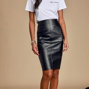 Sexy Kenneth Cole black leather skirt
